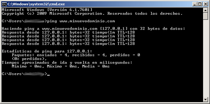 Comando ping en consola de Windows