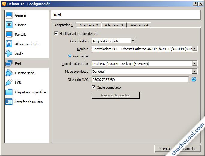 Opciones de red de la máquina virtual de VirtualBox