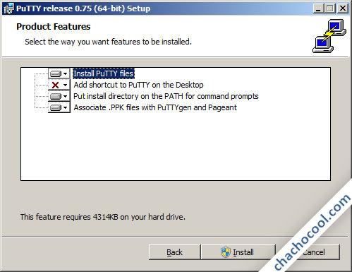 Opciones de instalación de PuTTy