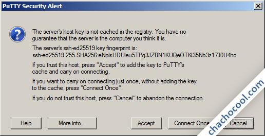 Putty informa sobre la huella del servidor ssh