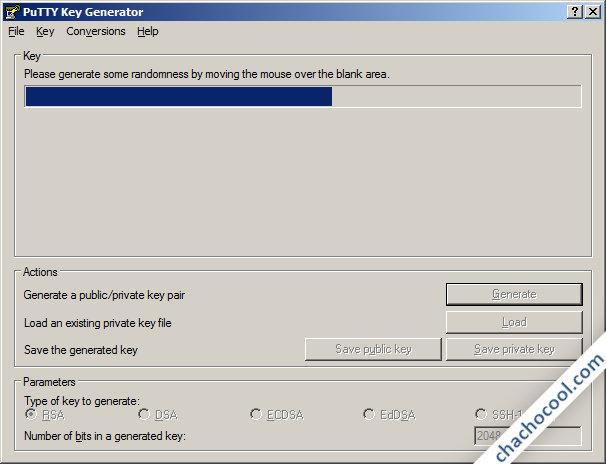 PuTTYgen creando claves RSA