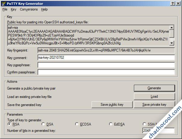 PuTTYgen ha creado las claves RSA