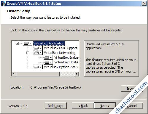 Opciones de instalación de VirtualBox