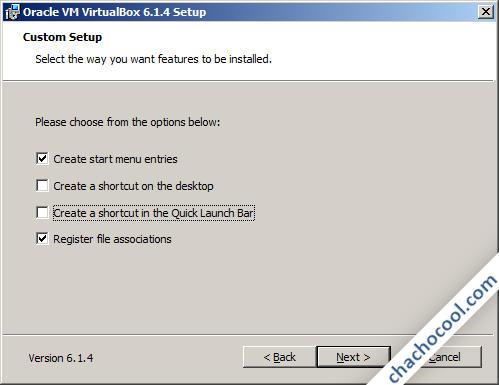 Detalles de la instalación de VirtualBox