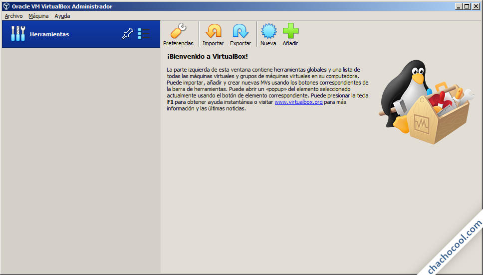Pantalla de inicio de VirtualBox