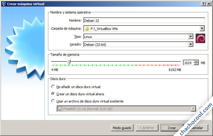 Modo experto de creación de máquina virtual en VirtualBox