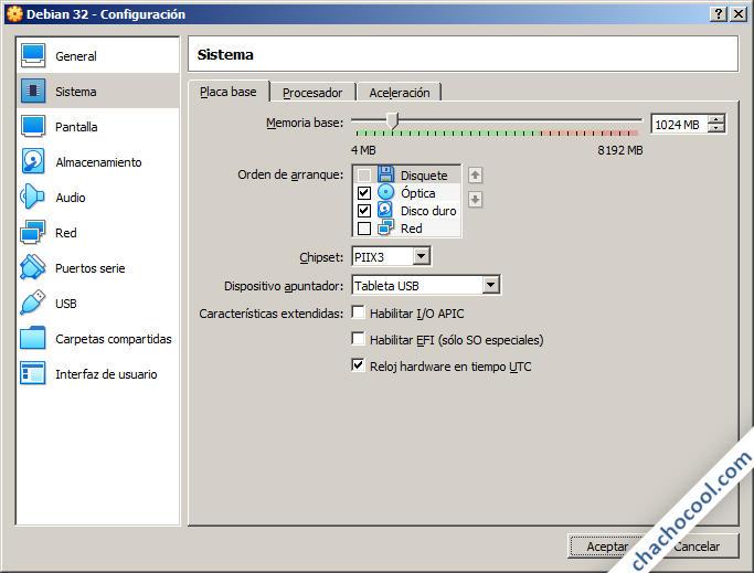 Opciones de sistema de la máquina virtual de VirtualBox
