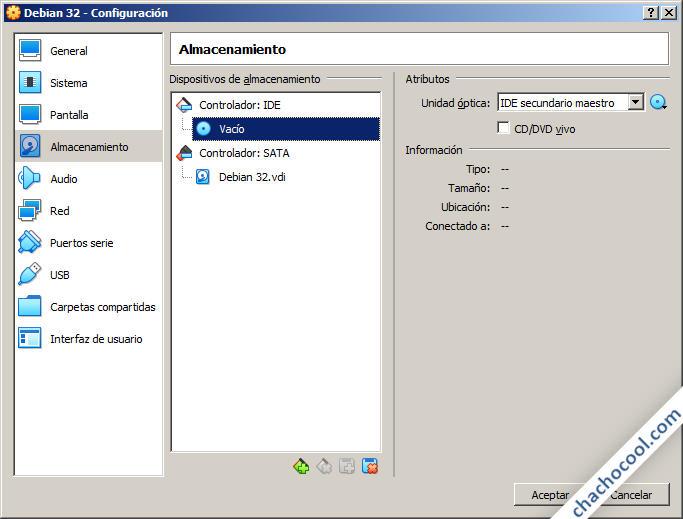 Opciones de almacenamiento de la máquina virtual de VirtualBox