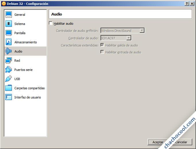 Opciones de audio de la máquina virtual de VirtualBox