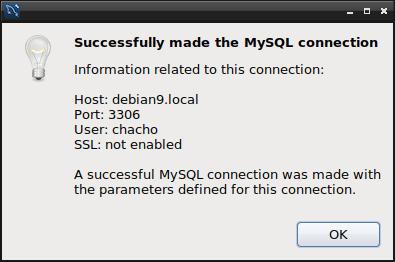 conexion exitosa con el servidor mariadb