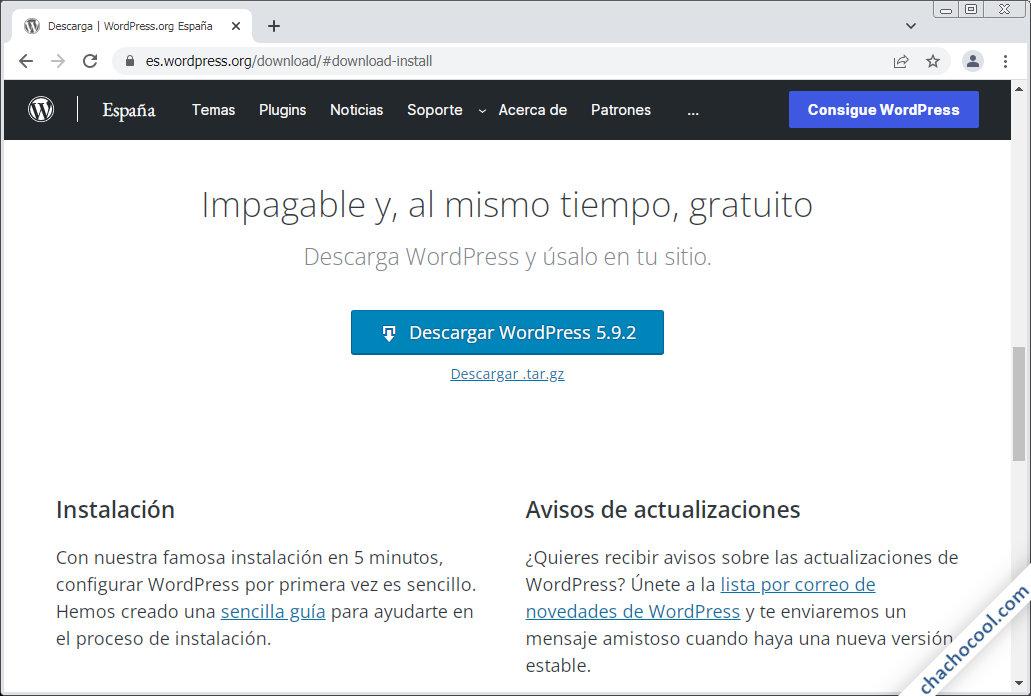 descargar wordpress para linux en español