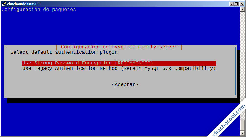 instalacion de mysql server en debian 9 stretch