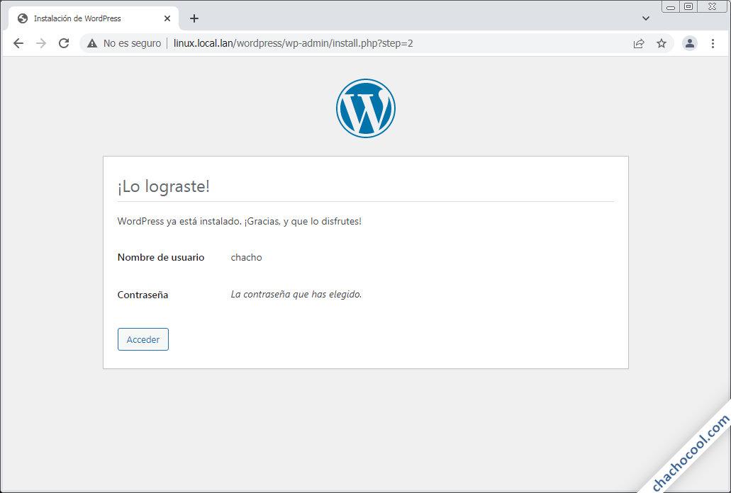 Pantalla de instalación con éxito de WordPress en linux