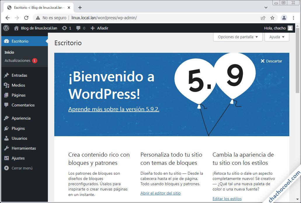 Pantalla de bienvenida al escritorio de WordPress en Linux