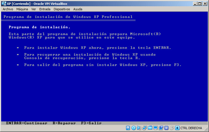 como crear una maquina virtual con windows xp