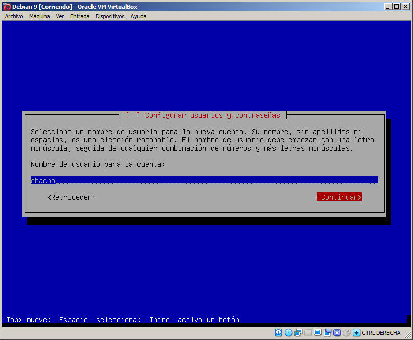 login usuario debian 9