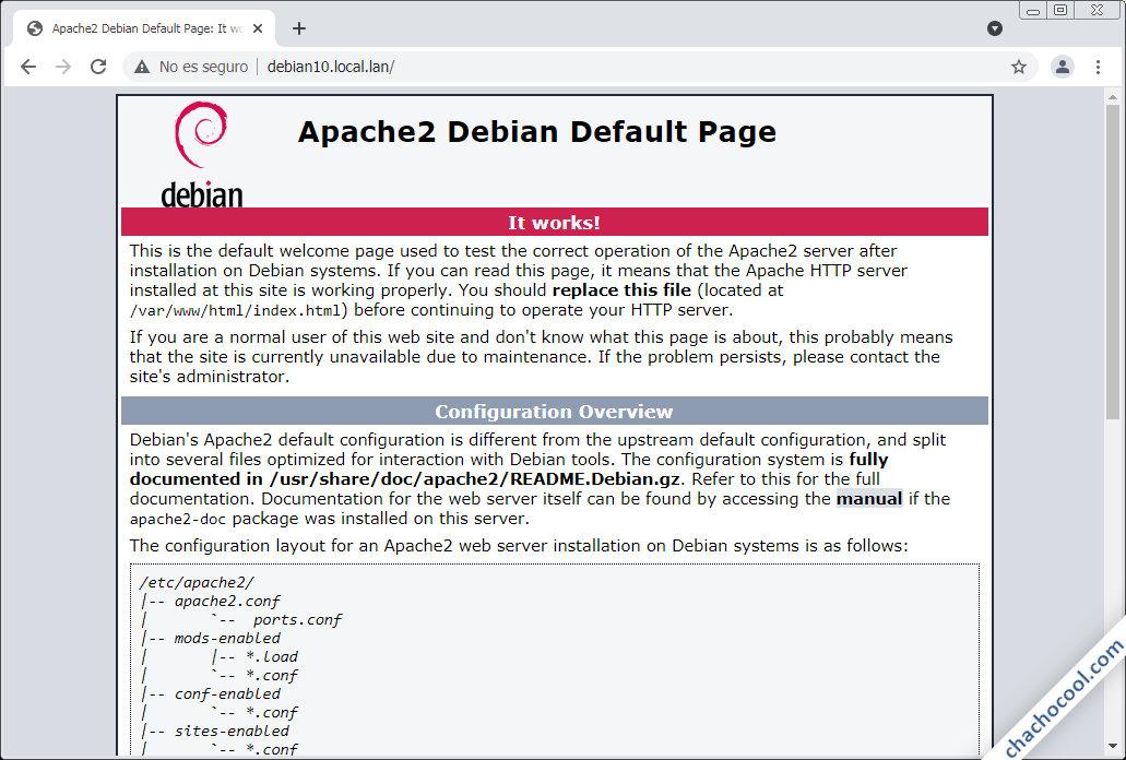 instalar el servidor web apache en debian 10 buster
