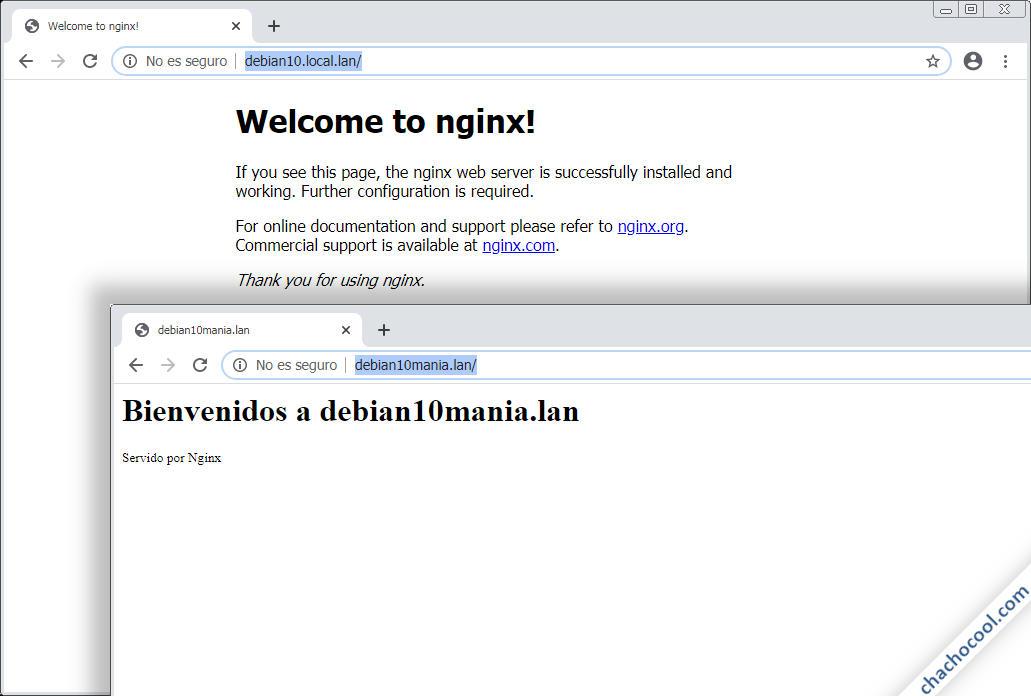 Configurar servidor virtual de Nginx en Debian 10 Buster