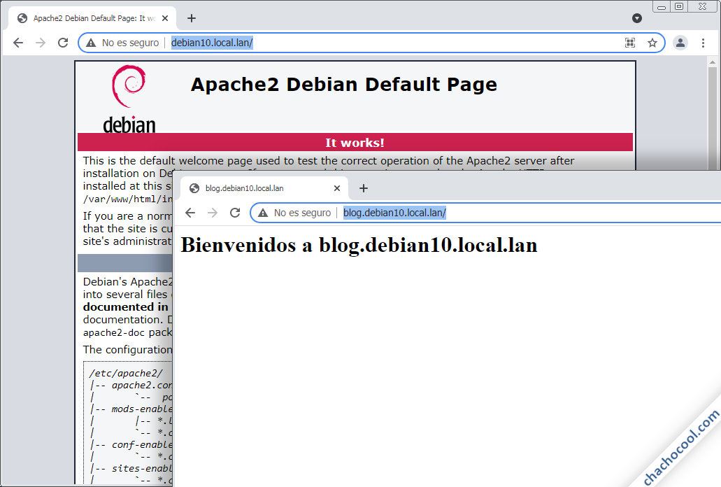 como crear servidores virtuales virtual host de apache en debian 10 buster