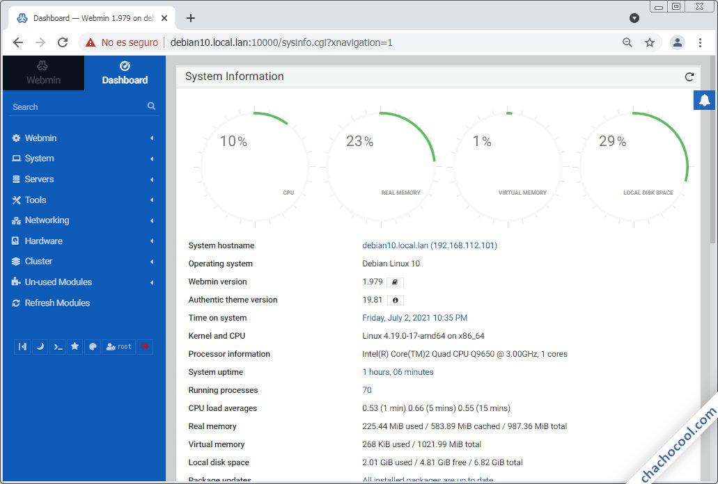 Webmin en Debian 10 Buster