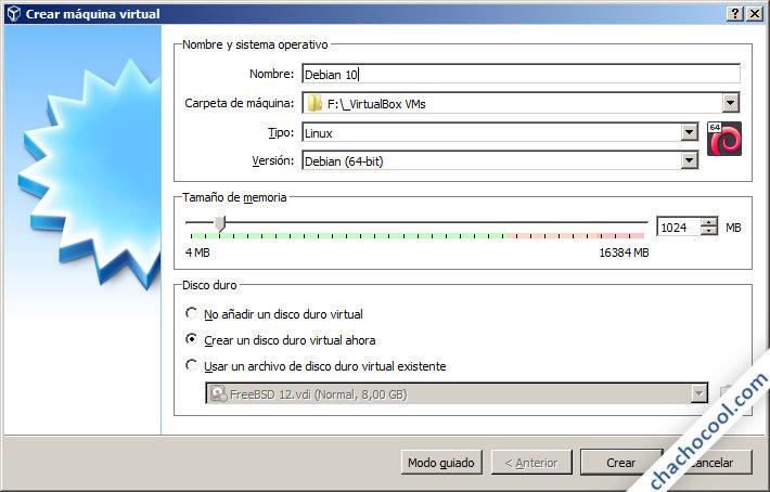 como crear una maquina virtual debian 10 en virtualbox