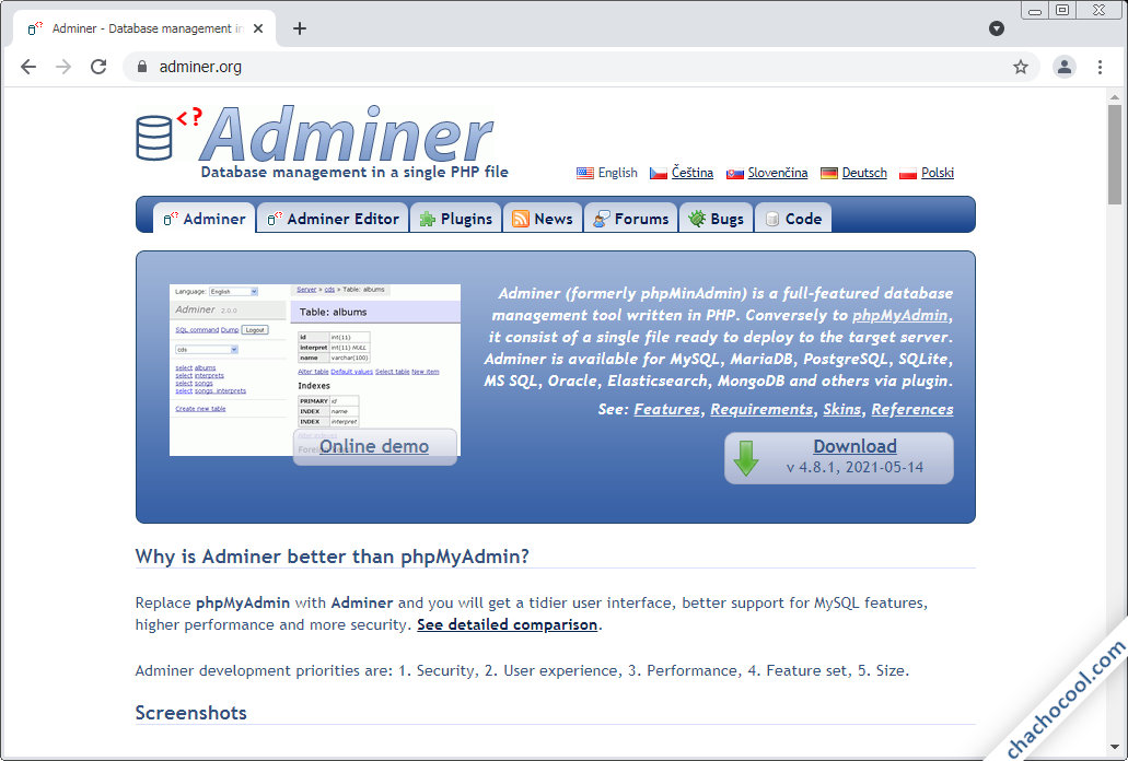 como descargar adminer en debian 9 stretch