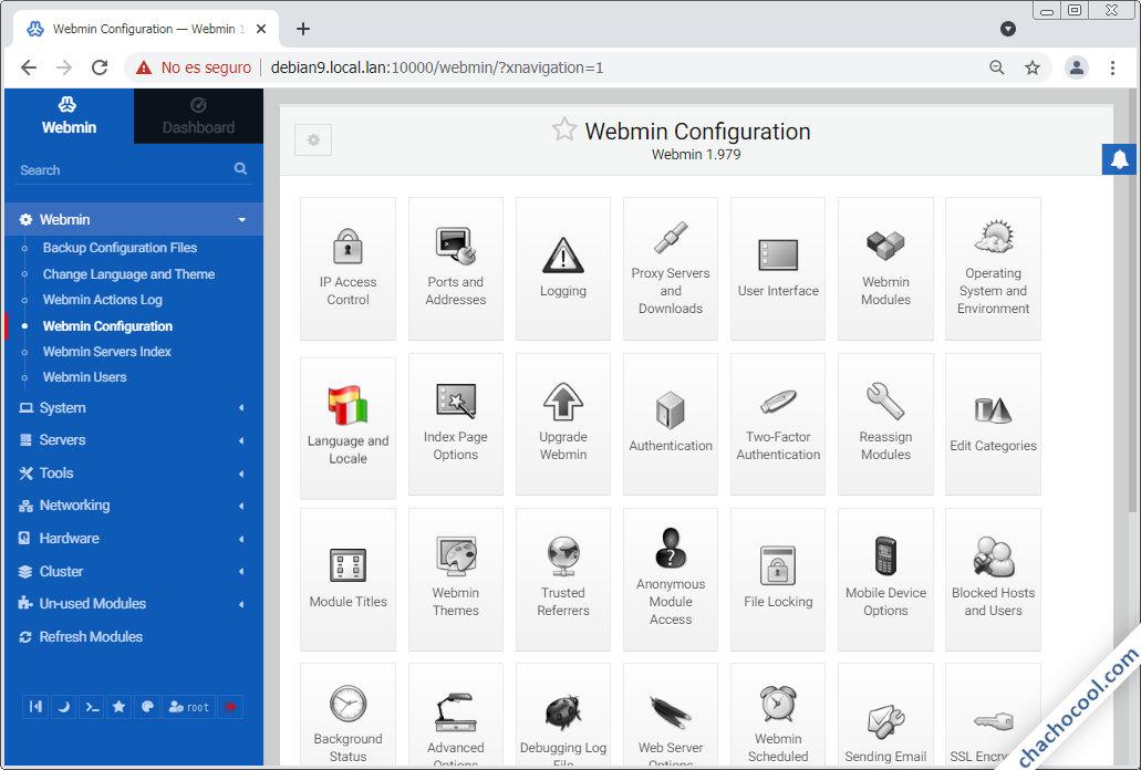 configurar webmin en debian 9 stretch