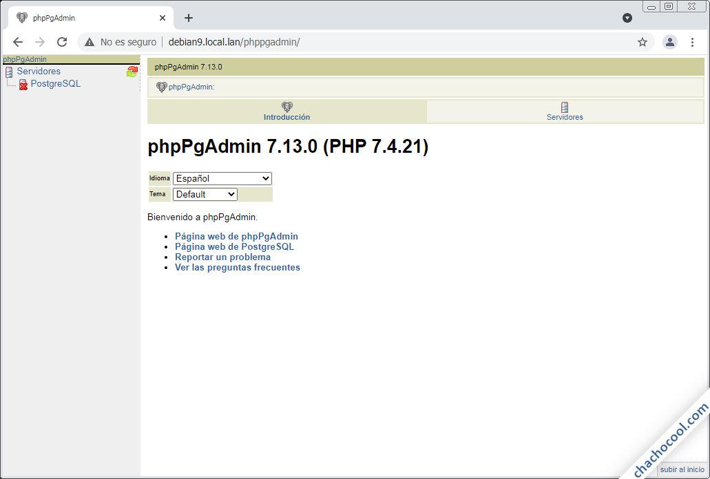 como instalar phppgadmin en debian 9 stretch