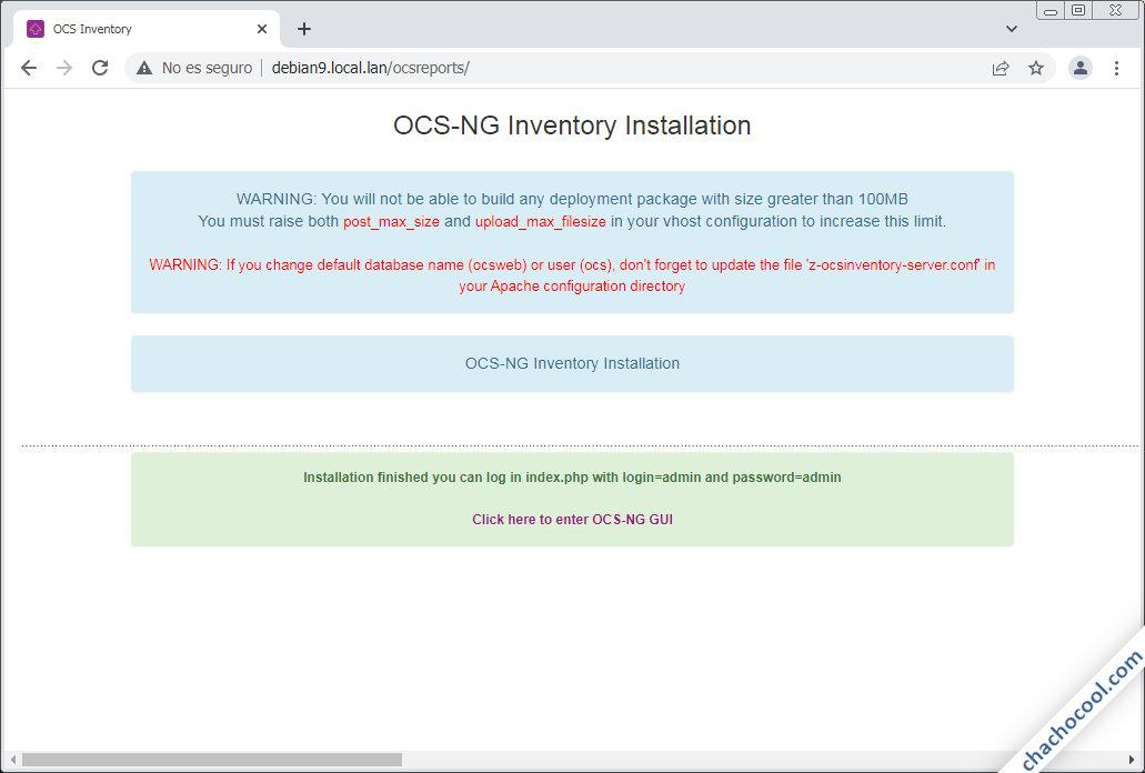 instalar ocs inventory server en debian 9 stretch