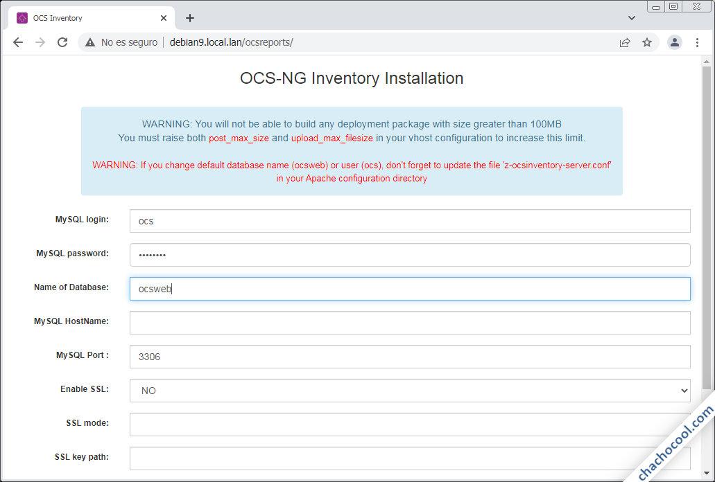 como instalar ocs inventory server en debian 9 stretch