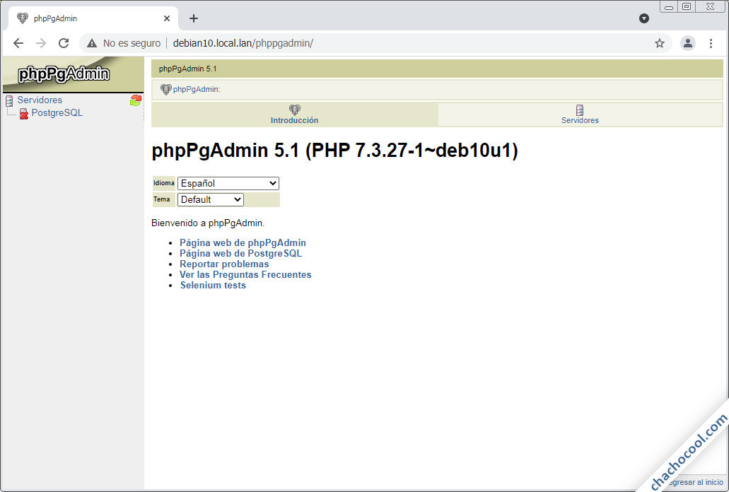 instalar phppgadmin en debian 10 buster