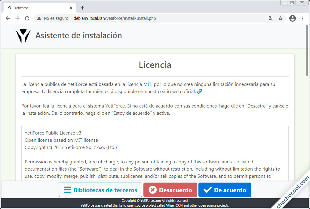 instalar yetiforce en debian 9 stretch