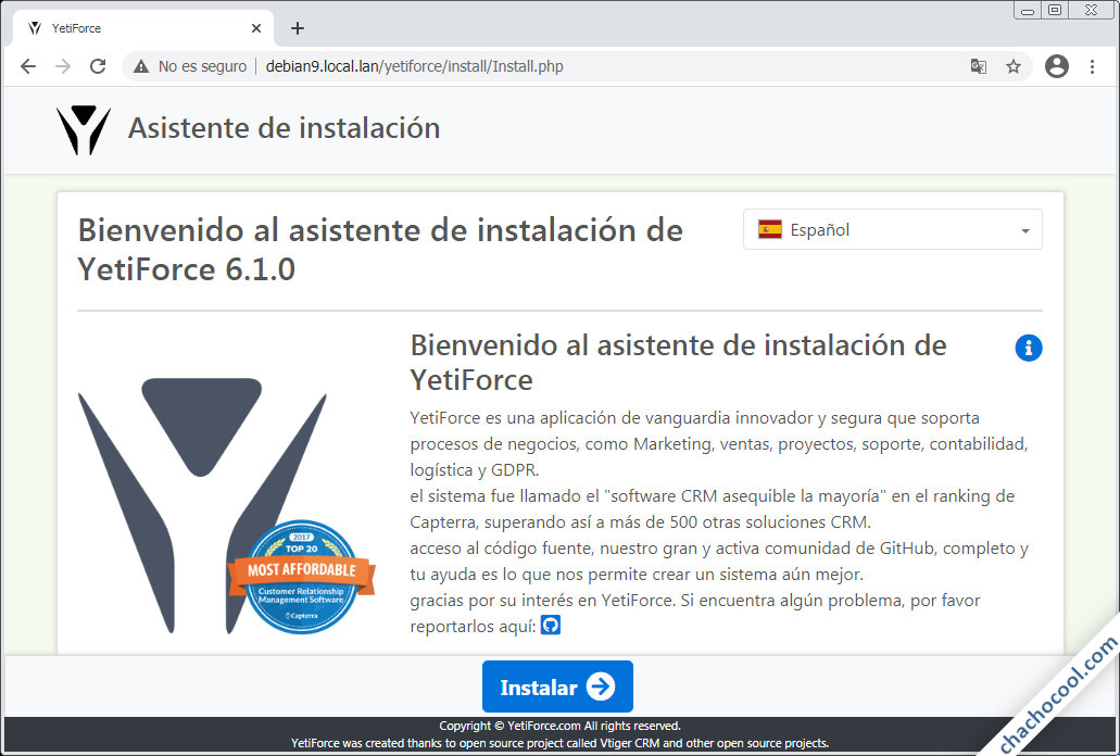 como instalar yetiforce en debian 9 stretch