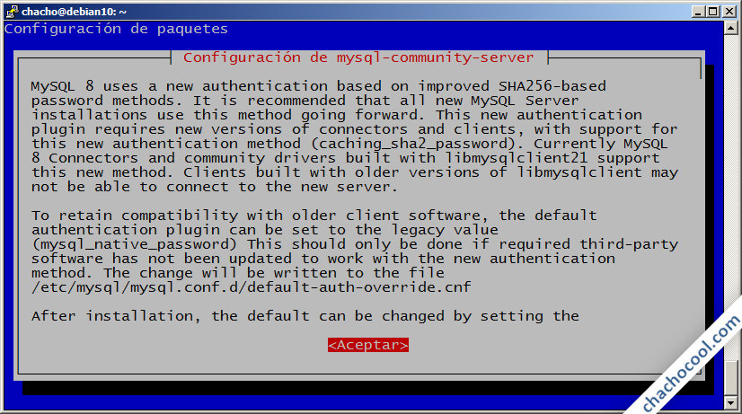 configurar mysql 8 en debian 10 buster