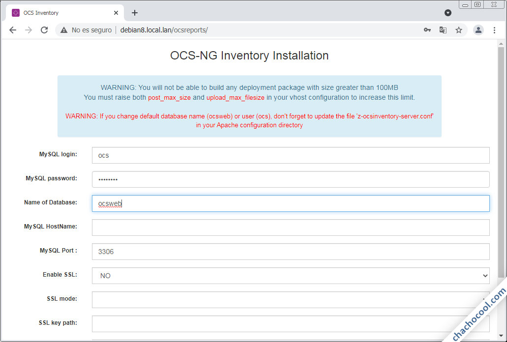 como instalar ocs inventory ng server en debian 8 jessie