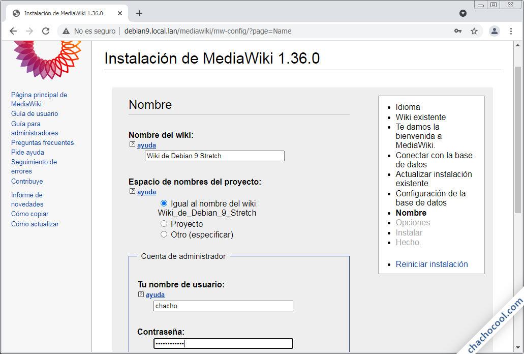 instalando mediawiki en debian 9 stretch