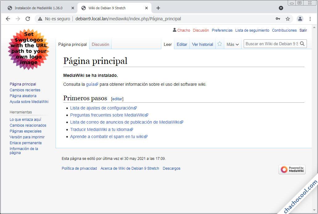 mediawiki para debian 9 stretch