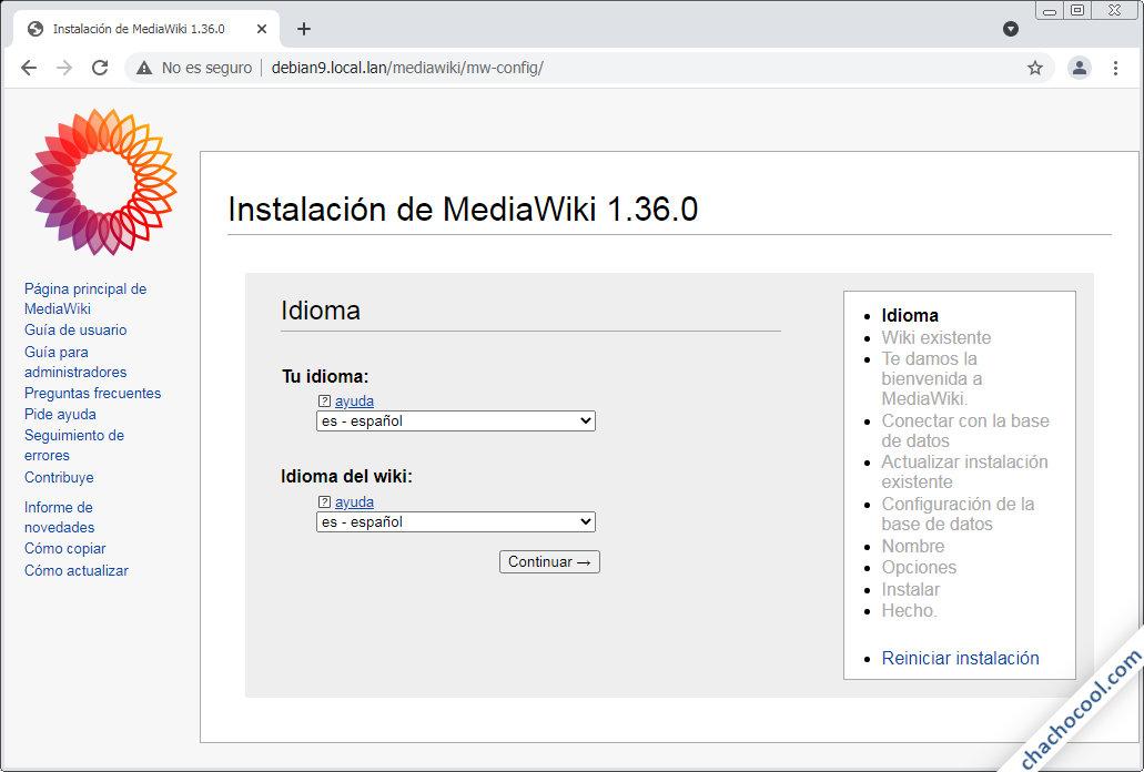 como instalar mediawiki en debian 9 stretch