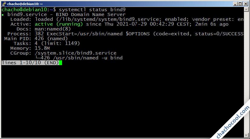 como instalar el servidor dns bind en debian 10 buster