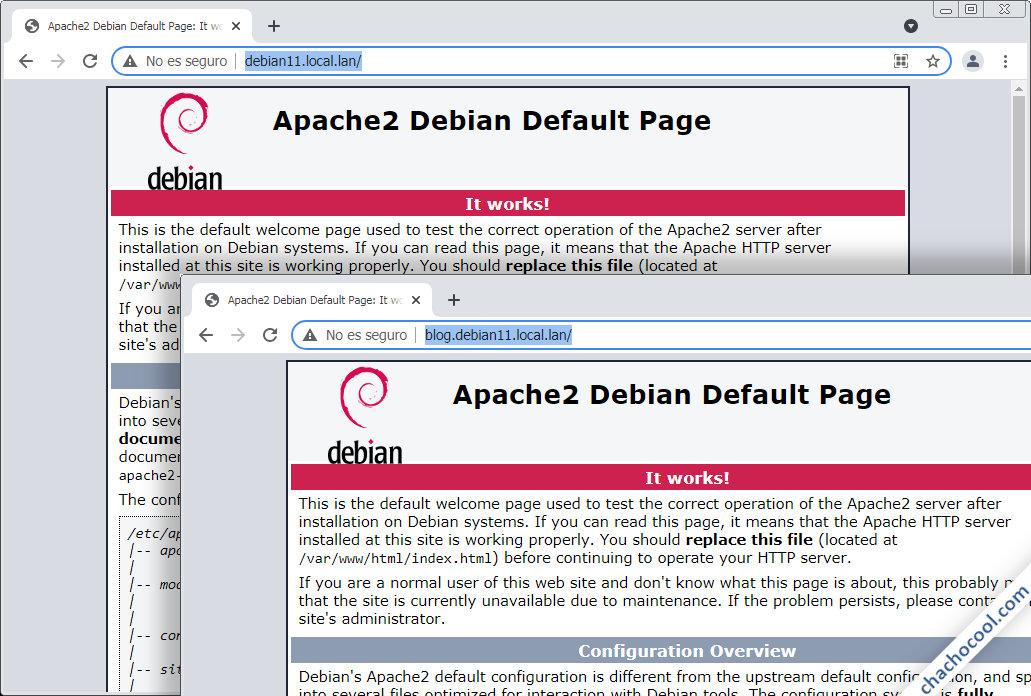 como configurar servidores virtuales en apache para debian 11 bullseye