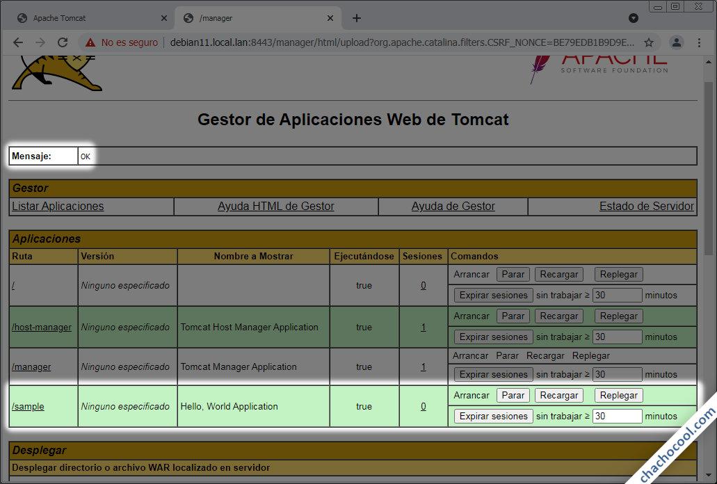 aplicaciones war en tomcat 9 para debian 11 bullseye