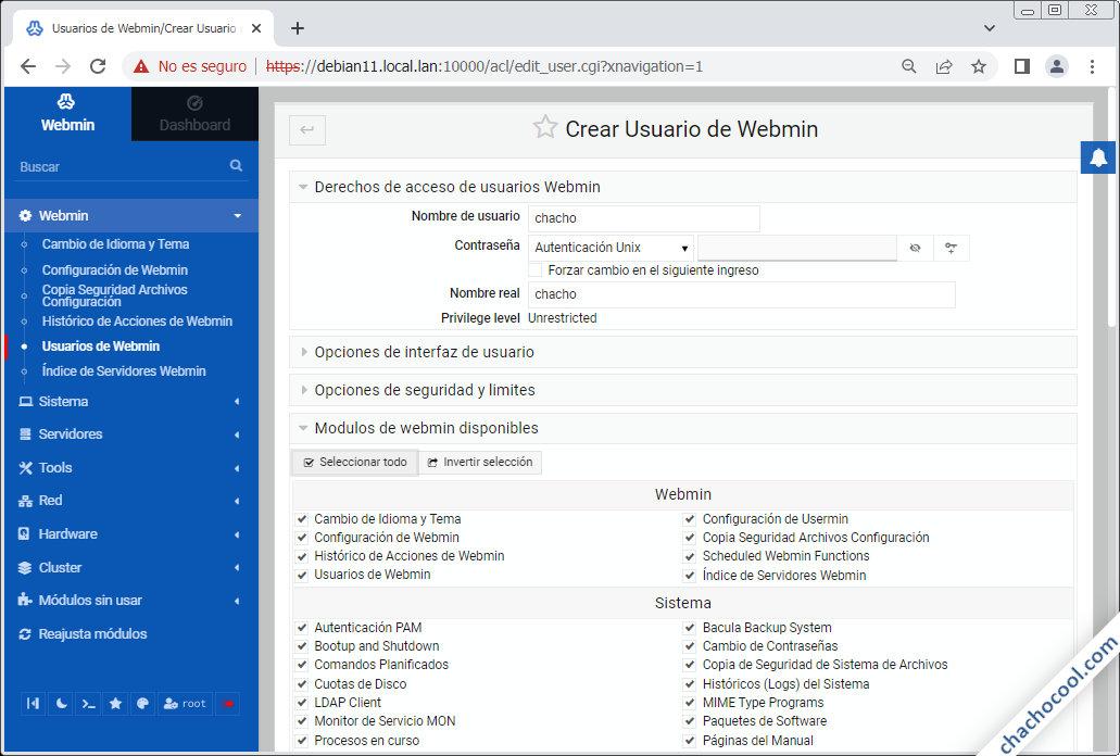crear usuarios en webmin para debian 11 bullseye